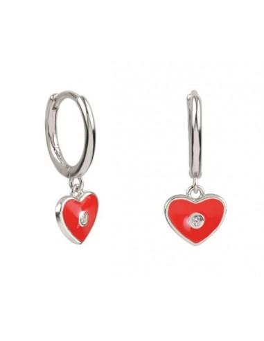 Pendientes Aro y Charm Corazón Esmalte Rojo con Circonita Plata