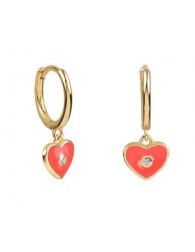 Pendientes Aro y Charm Corazón Esmalte Coral con Circonita Oro