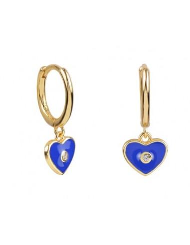 Pendientes Aro y Charm Corazón Esmalte Azul Cian con Circonita Oro