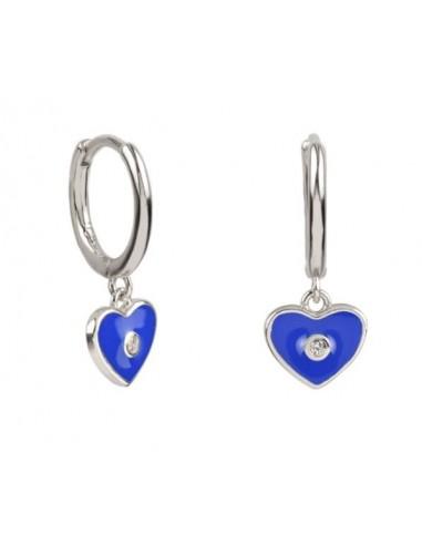 Pendientes Aro y Charm Corazón Esmalte Azul Cian con Circonita Plata