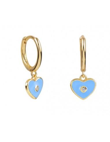 Pendientes Aro y Charm Corazón Esmalte Azul Claro con Circonita Oro