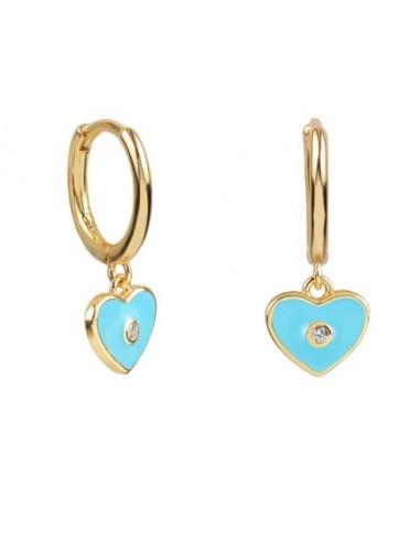 Pendientes Aro y Charm Corazón Esmalte Azul Pastel con Circonita Oro