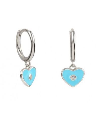 Pendientes Aro y Charm Corazón Esmalte Azul Claro con Circonita Plata