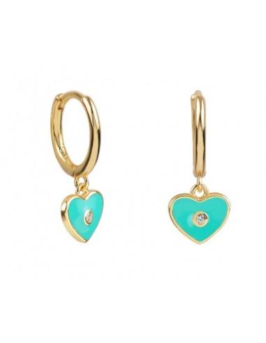Pendientes Aro y Charm Corazón Esmalte Azul Turquesa con Circonita Oro