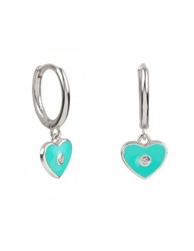 Pendientes Aro y Charm Corazón Esmalte Azul Turquesa con Plata