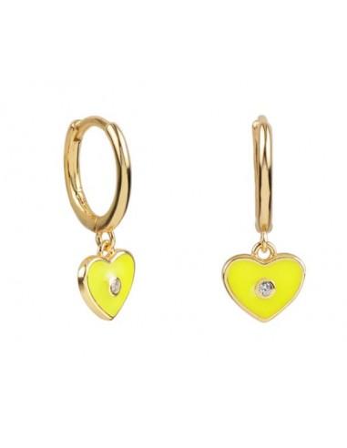 Pendientes Aro y Charm Corazón Esmalte Amarillo con Circonita Oro