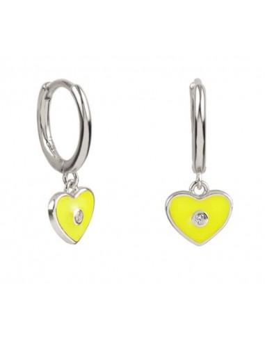 Pendientes Aro y Charm Corazón Esmalte Amarillo con Circonita Plata