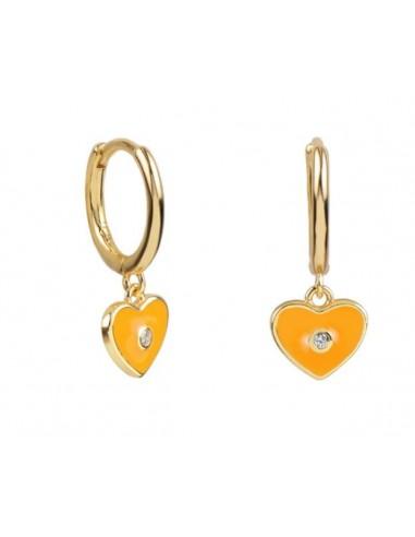 Pendientes Aro y Charm Corazón Esmalte Naranja con Circonita Oro