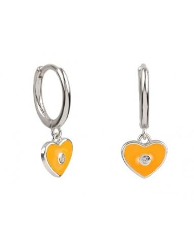 Pendientes Aro y Charm Corazón Esmalte Naranja con Circonita Plata