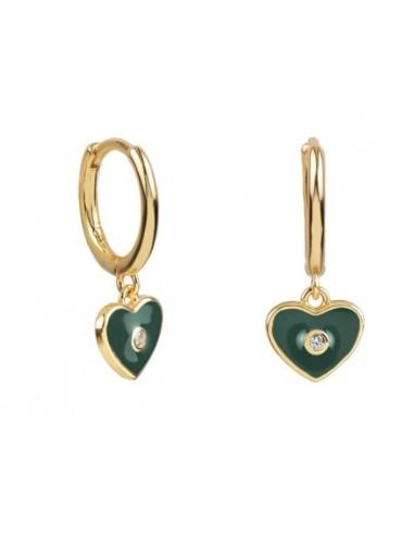 Pendientes Aro y Charm Corazón Esmalte Verde Oscuro con Circonita Oro