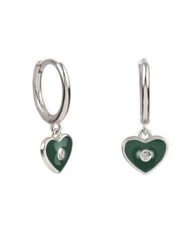Pendientes Aro y Charm Corazón Esmalte Verde Oscuro con Circonita Plata