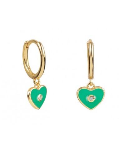 Pendientes Aro y Charm Corazón Esmalte Verde con Circonita Oro