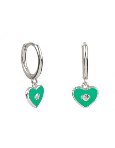 Pendientes Aro y Charm Corazón Esmalte Verde con Circonita Plata