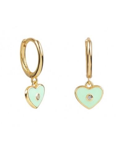 Pendientes Aro y Charm Corazón Esmalte Verde Menta con Circonita Oro