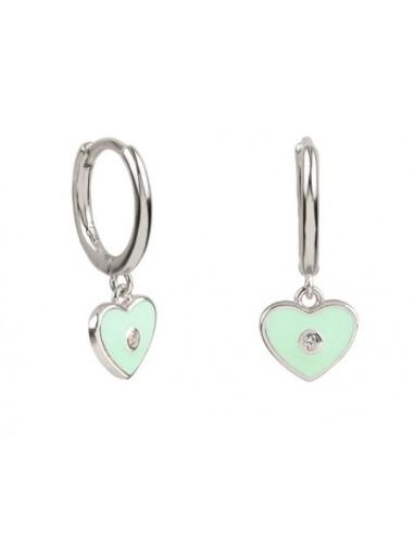 Pendientes Aro y Charm Corazón Esmalte Verde Menta con Circonita Plata