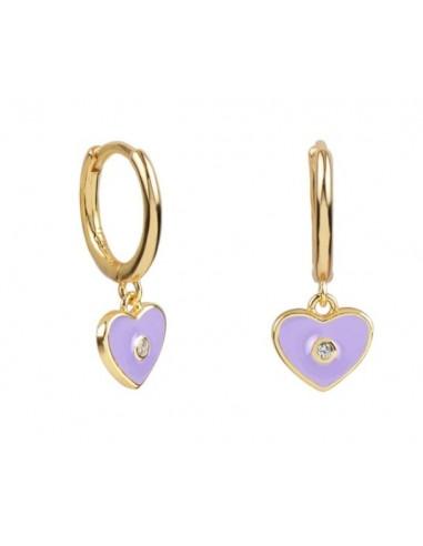 Pendientes Aro y Charm Corazón Esmalte Malva con Circonita Oro