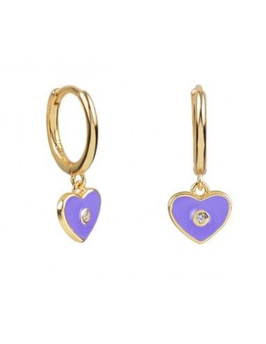 Pendientes Aro y Charm Corazón Esmalte Lila con Circonita Oro