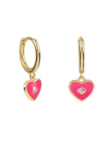 Pendientes Aro y Charm Corazón Esmalte Rosa Hot con Circonita Oro