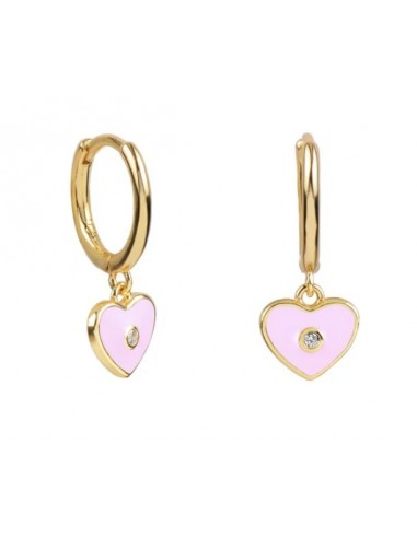 Pendientes Aro y Charm Corazón Esmalte Rosa con Circonita Oro