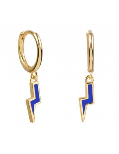 Pendientes Aro y Rayo Esmalte Azul Cian Oro