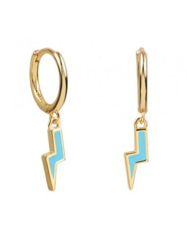 Pendientes Aro y Rayo Esmalte Azul Pastel Oro