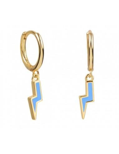 Pendientes Aro y Rayo Esmalte Azul Claro Oro