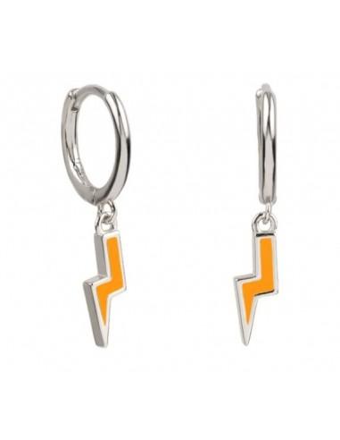 Pendientes Aro y Rayo Esmalte Naranja Plata