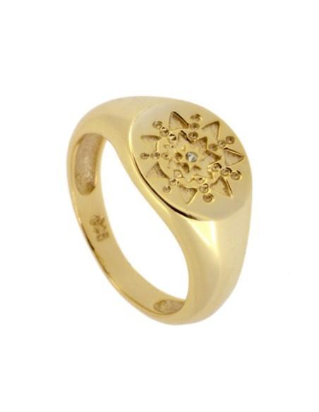 anillo sello estrella y circonita