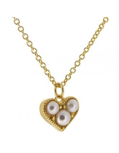 gargantilla colgante corazón y perlas