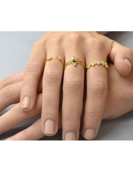 anillo circonitas verde y blanca
