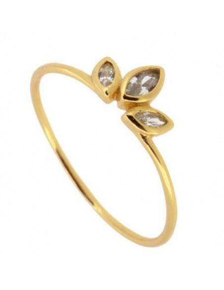 anillo tres circonitas ovaladas