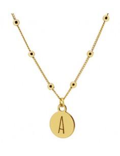gargantilla medalla con inicial y cadena bolitas